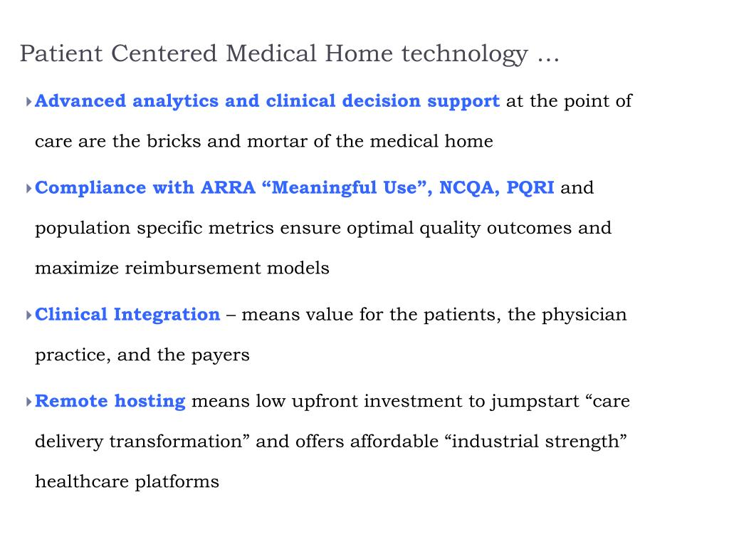 Patient Centered Medical Home technology …