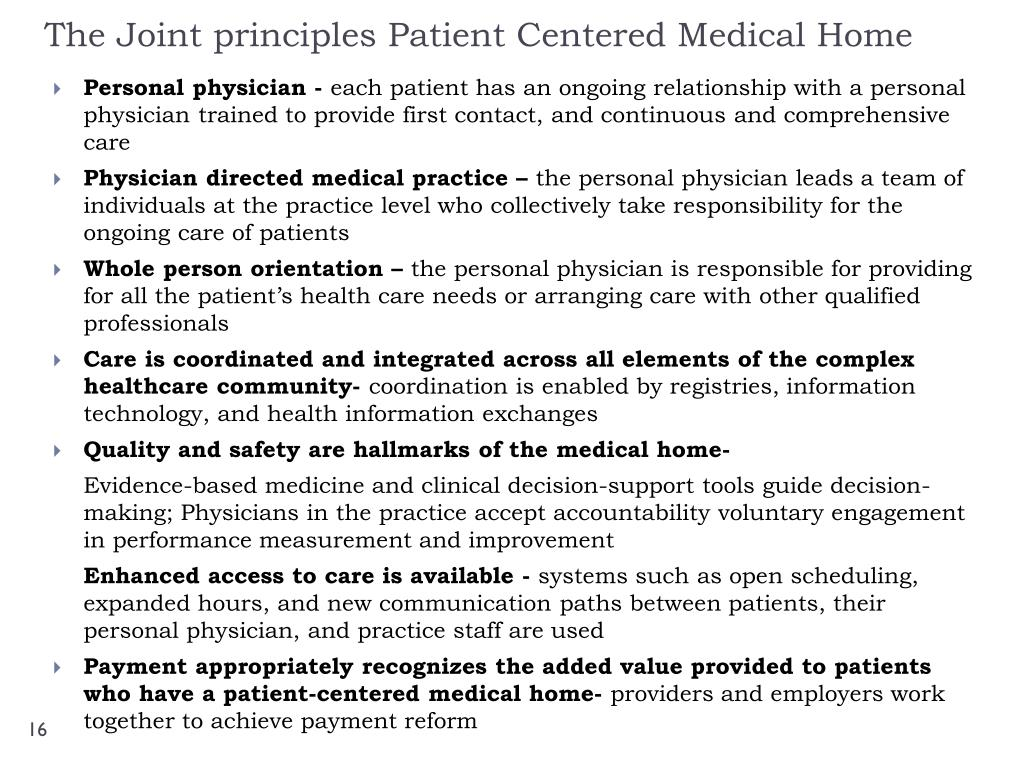 The Joint principles Patient Centered Medical Home