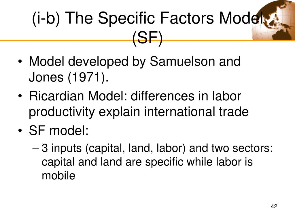 (i-b) The Specific Factors Model (SF)