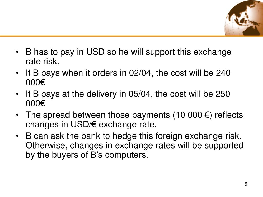 B has to pay in USD so he will support this exchange rate risk.