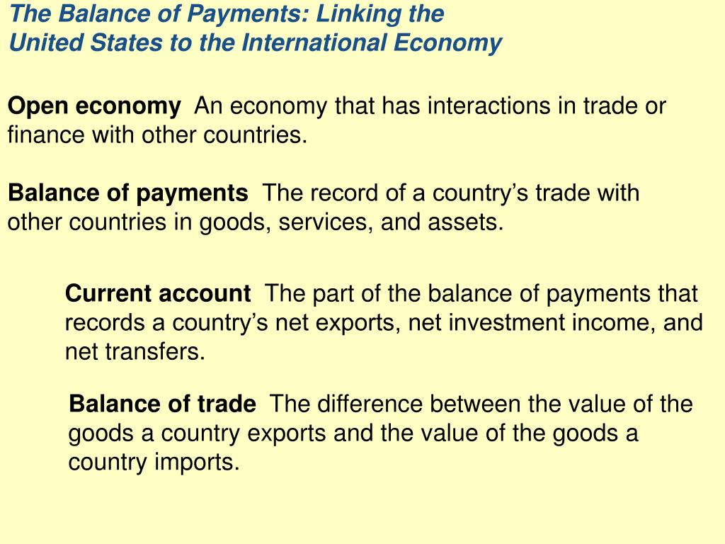 the balance of payments linking the united states to the international economy l.