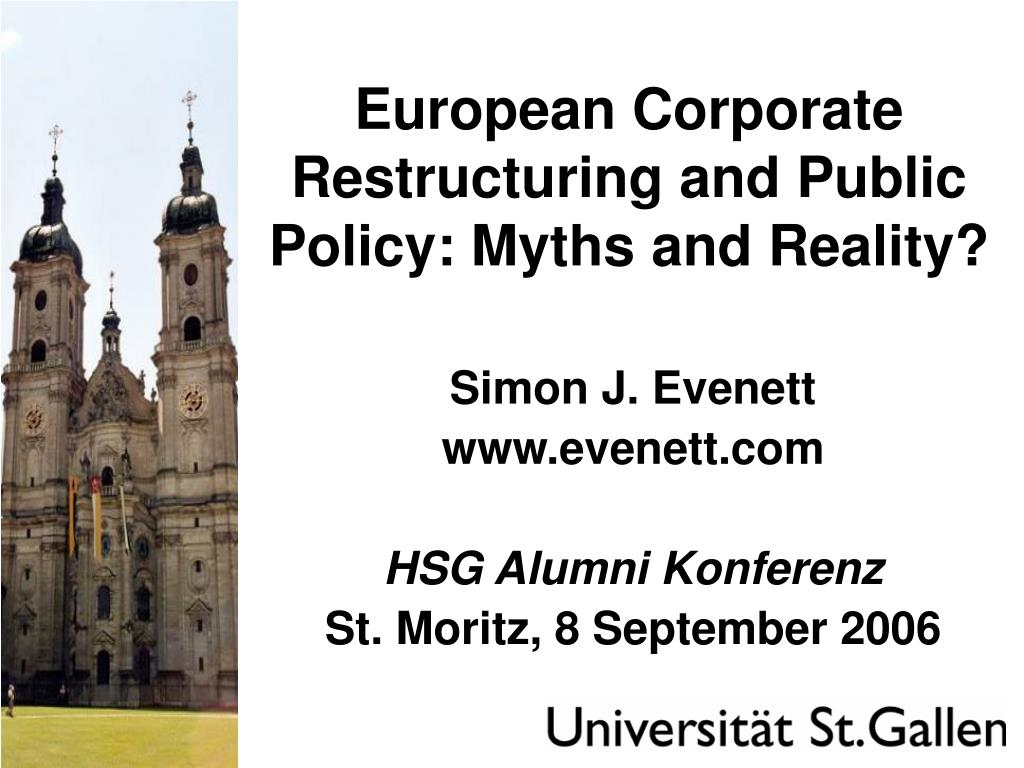 european corporate restructuring and public policy myths and reality l.