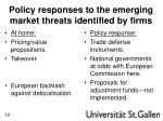 policy responses to the emerging market threats identified by firms
