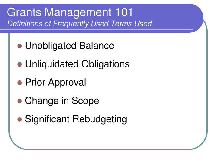 Grants Management 101