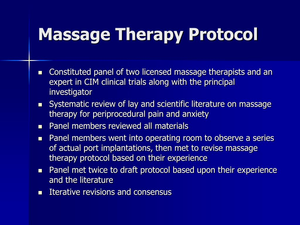 Massage Therapy Protocol