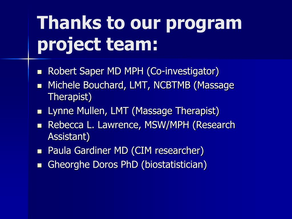 Thanks to our program project team:
