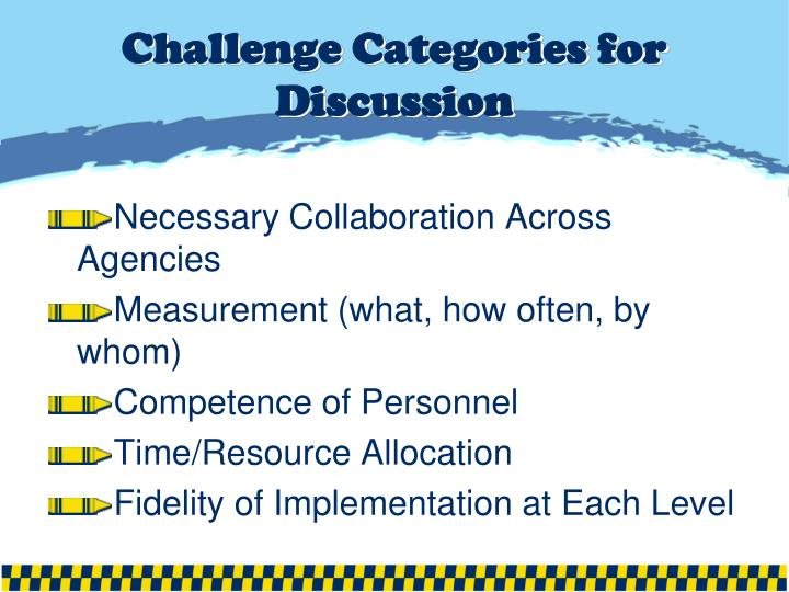 Challenge Categories for Discussion