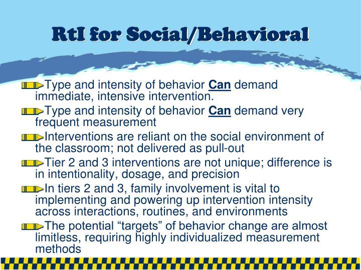 RtI for Social/Behavioral