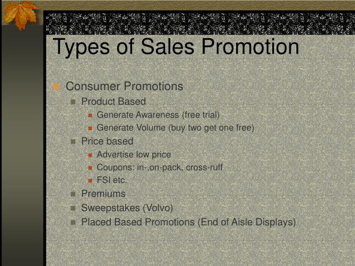 Types of sales promotion