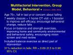 multifactorial intervention group model behavioral clemson jags 2004