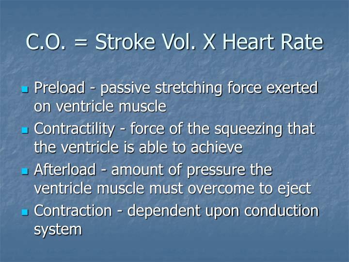 C o stroke vol x heart rate