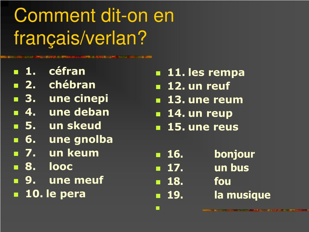PPT - Verlan: A form of French Slang PowerPoint Presentation, free ...