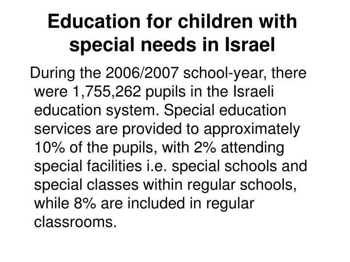 Education for children with special needs in Israel