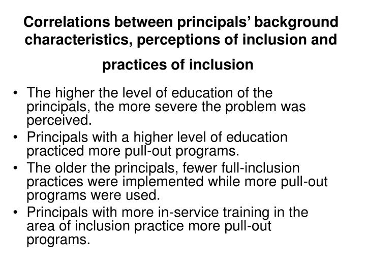 Correlations between principals' background characteristics, perceptions of inclusion and practices of inclusion