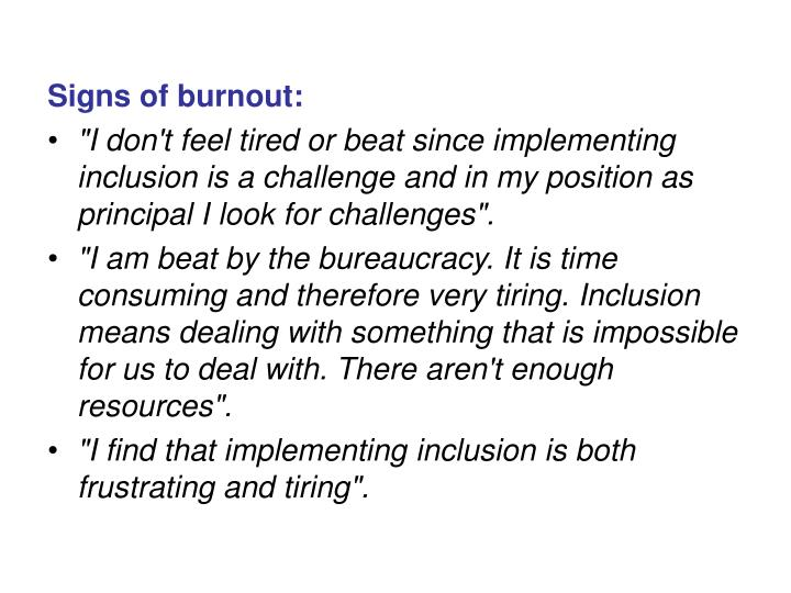 Signs of burnout: