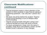classroom modifications continued