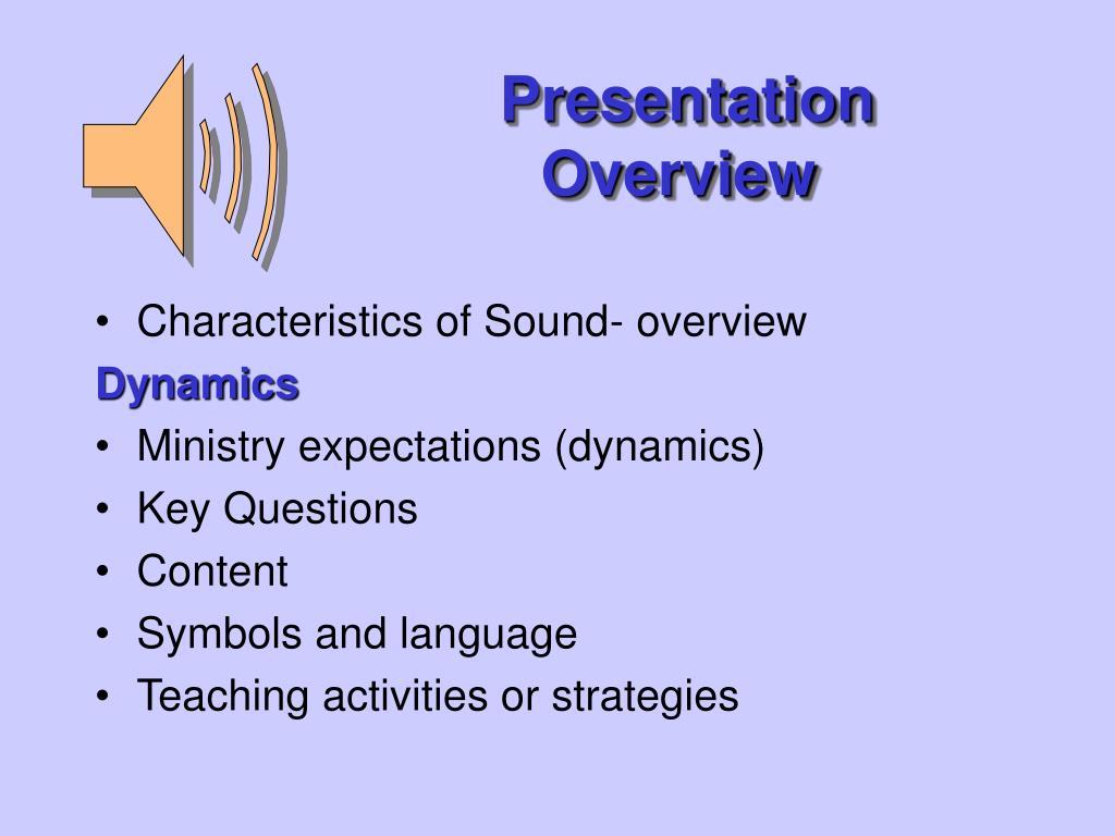 presentation overview l.