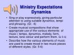 ministry expectations dynamics
