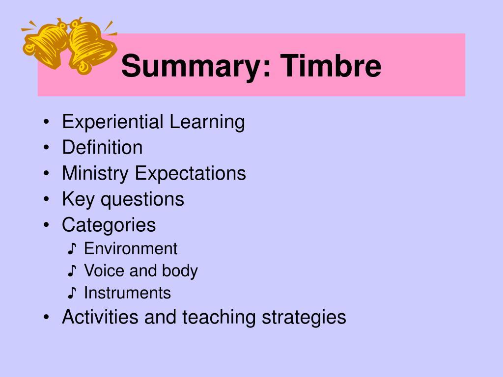 Summary: Timbre