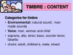 timbre content