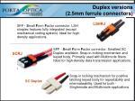 duplex versions 2 5mm ferrule connectors