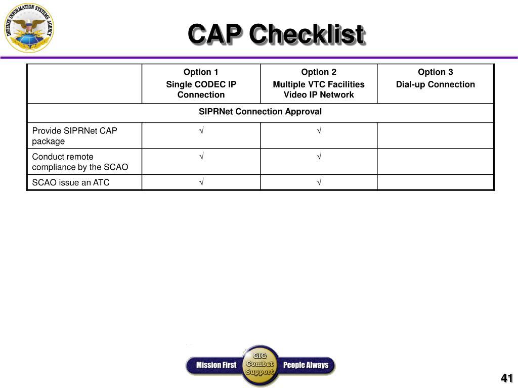 CAP Checklist