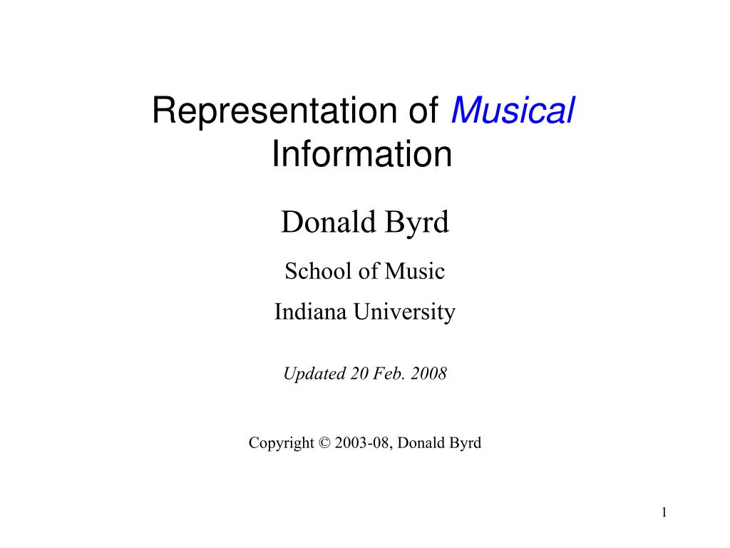representation of musical information l.
