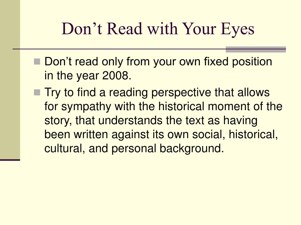 Don't Read with Your Eyes