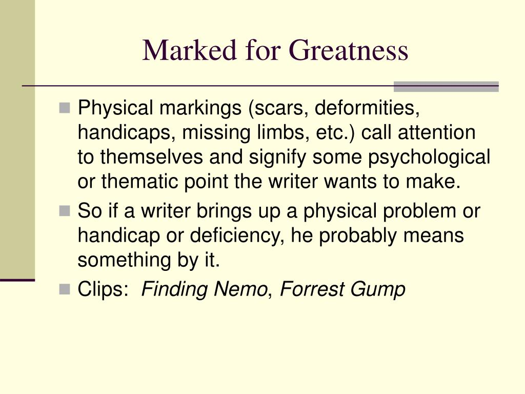 Marked for Greatness
