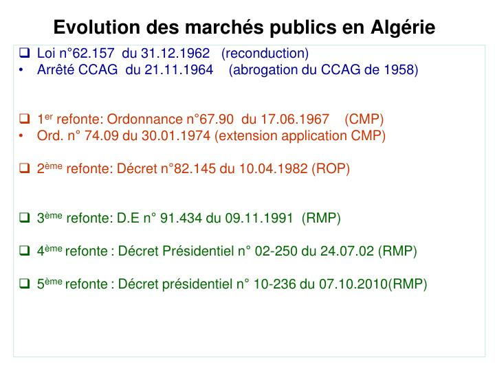 Evolution des march s publics en alg rie
