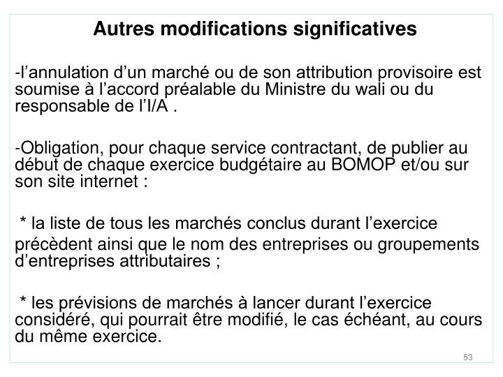 Autres modifications significatives
