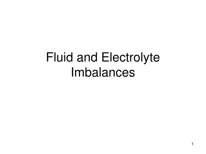 fluid electrolyte imbalance case study