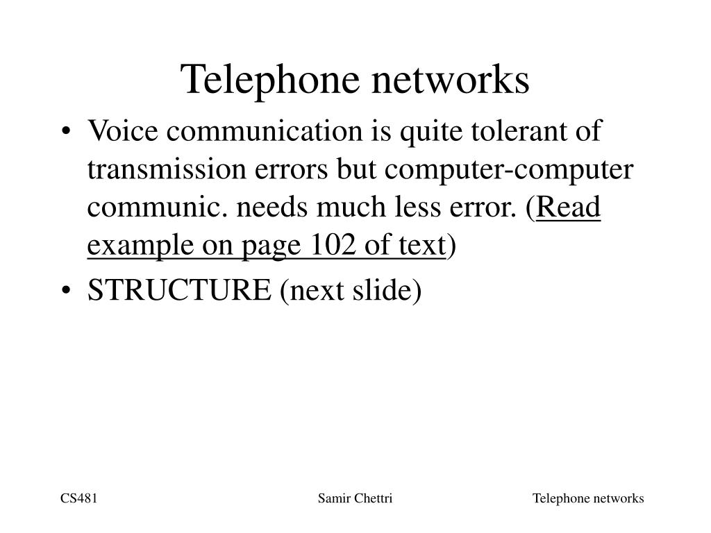 Telephone networks