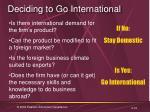 deciding to go international