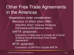 other free trade agreements in the americas