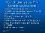 some problems from it for competitive advantage