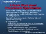 a quick word about procurement opportunities