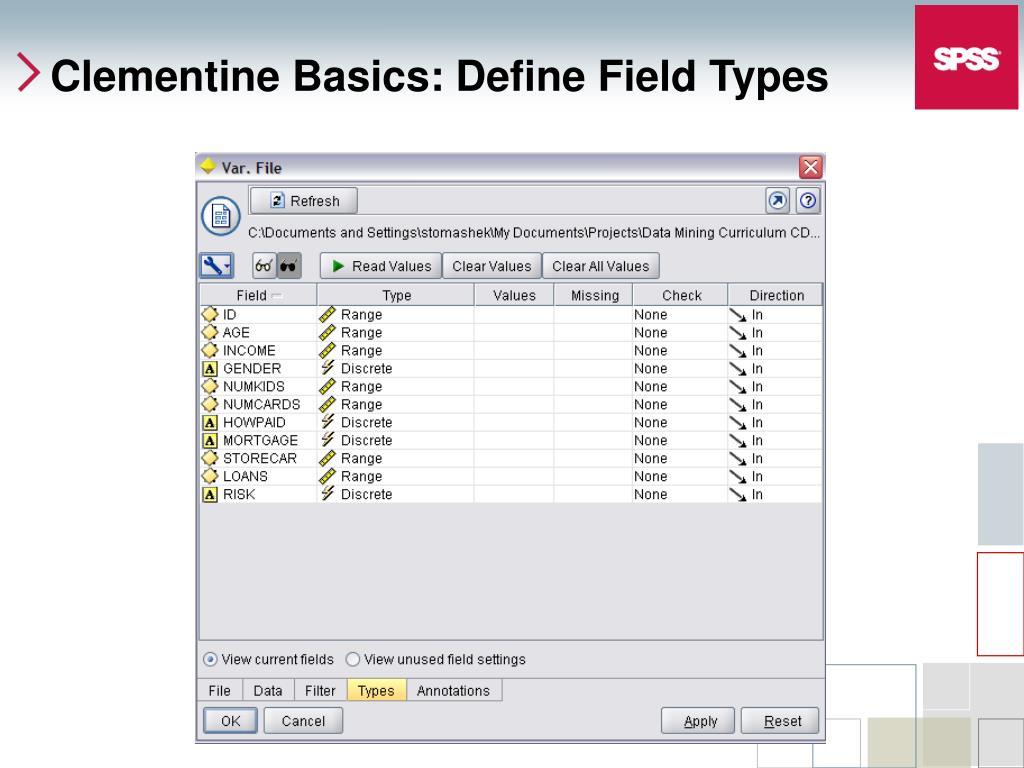 Clementine Basics: Define Field Types
