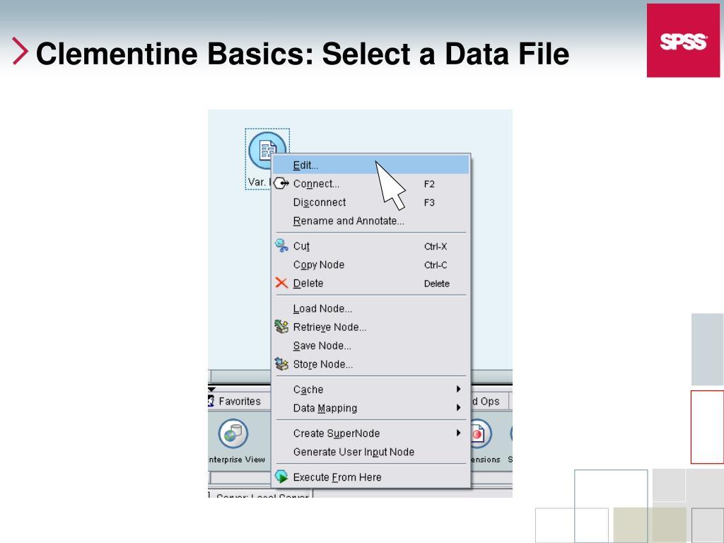 Clementine Basics: Select a Data File