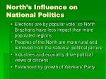 north s influence on national politics