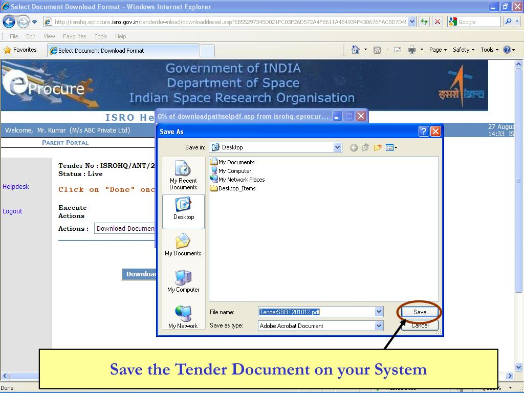 Save the Tender Document on your System
