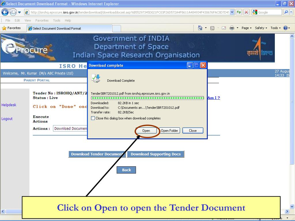 Click on Open to open the Tender Document