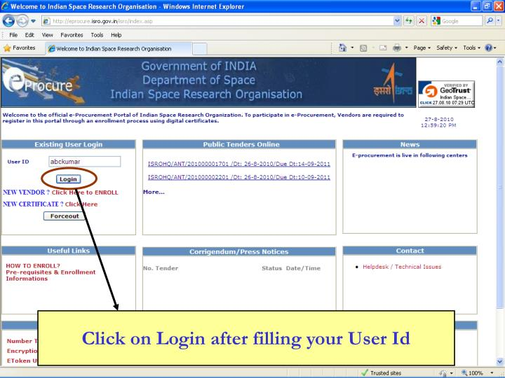 Click on Login after filling your User Id