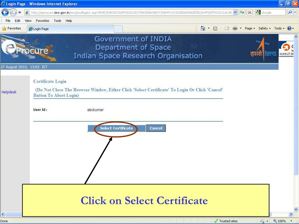 Click on Select Certificate