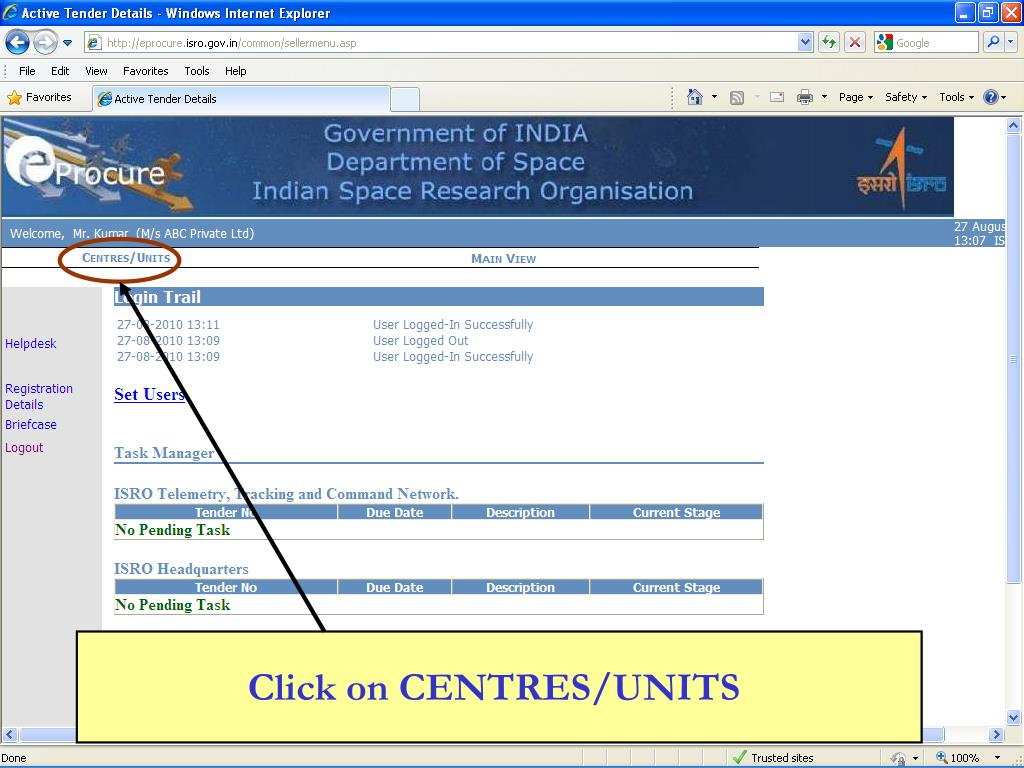 Click on CENTRES/UNITS