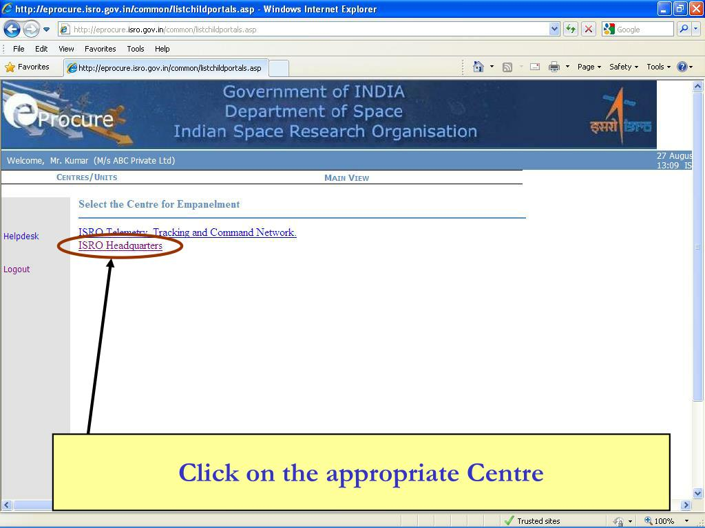 Click on the appropriate Centre