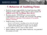 7 behavior of auditing firms