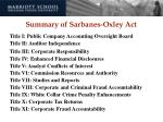 summary of sarbanes oxley act