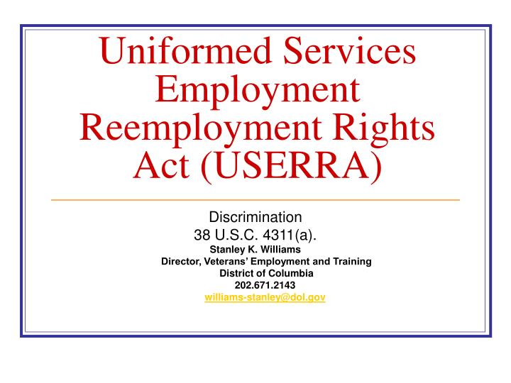uniformed services employment reemployment rights act userra n.