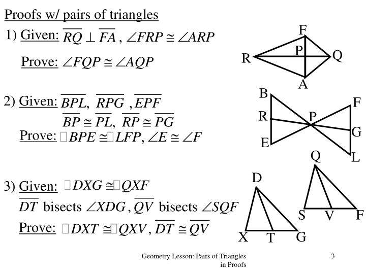 Proofs w pairs of triangles